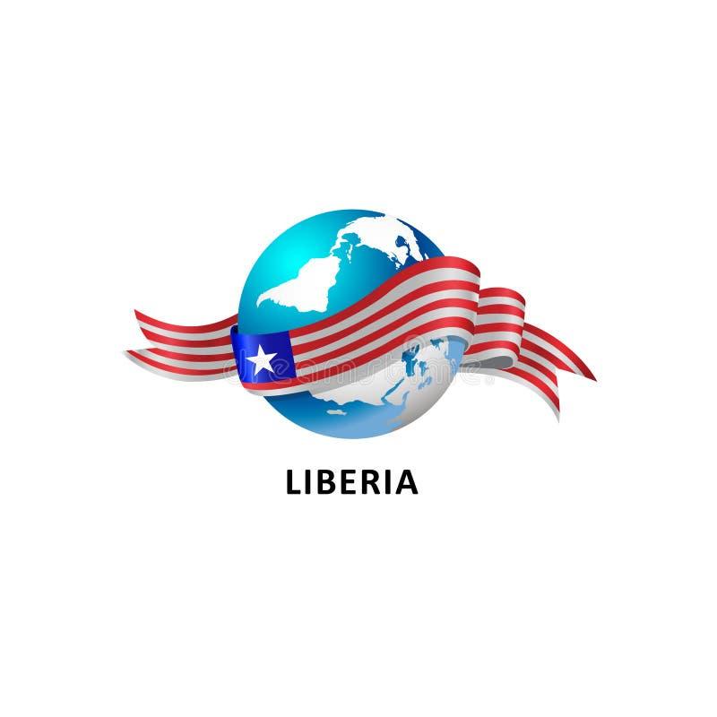 与利比里亚旗子的世界 皇族释放例证