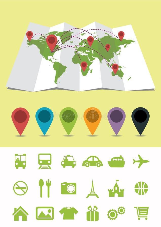 与别针和象的世界地图 皇族释放例证