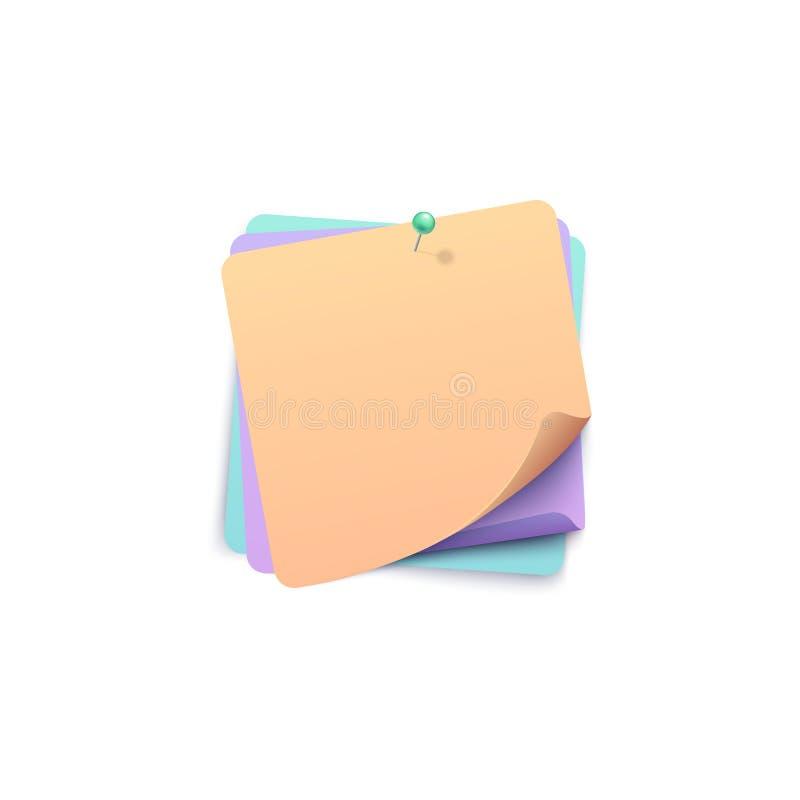 与别针现实样式一起添加的滚动的角落的三个颜色贴纸 库存例证