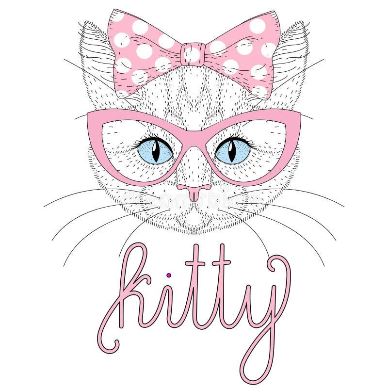 与别针的逗人喜爱的全部赌注画象在头的蝶形领结 猫被画的现有量 向量例证