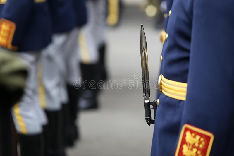 与制服和武器的细节有罗马尼亚卫兵旅团战士的刺刀的 免版税库存图片