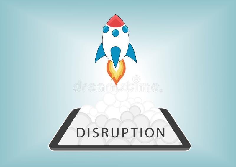 与制造混乱的业务模式的新的数字式中断与新技术 向量例证