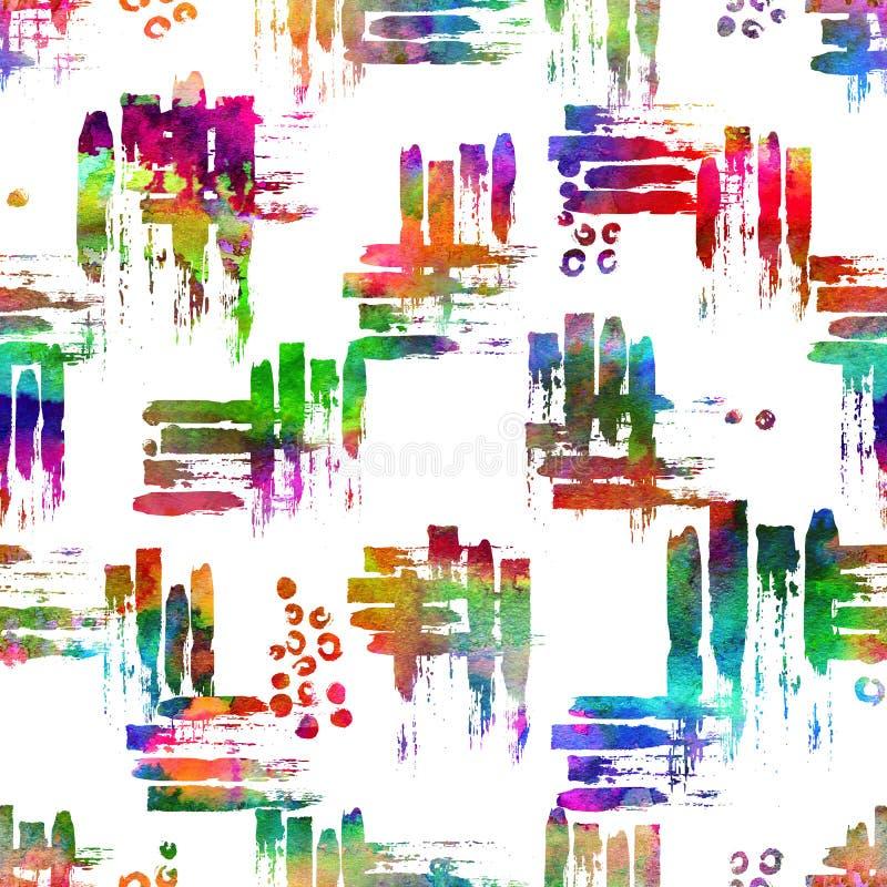 与刷子冲程和小点的五颜六色的无缝的样式 彩虹在白色背景的水彩颜色 手画农庄 向量例证