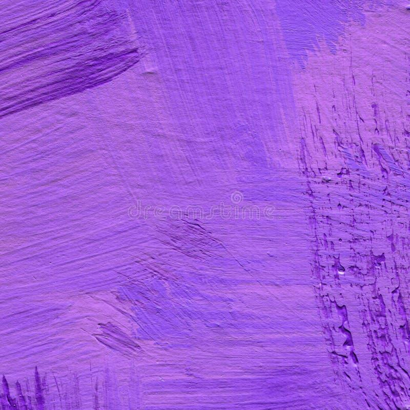 与刷子冲程的抽象丙烯酸酯的背景在淡紫色和紫罗兰色树荫 皇族释放例证