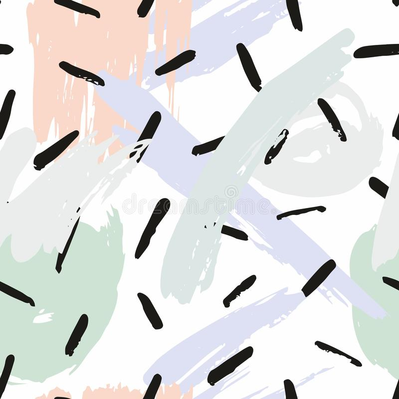 与刷子冲程的抽象无缝的样式 上色模式可能的变形多种向量 向量例证