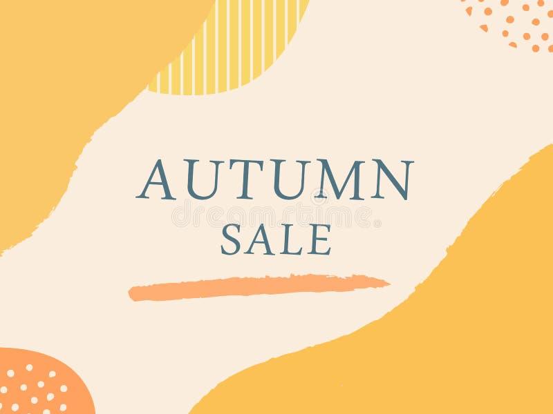 与刷子冲程的摘要秋天逗人喜爱的设计在黄色和橙色在轻的背景 传单的时髦创造性的模板, 皇族释放例证