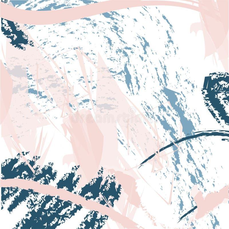 与刷子冲程的时髦传染媒介样式 手拉的抽象卡片 向量例证