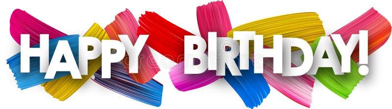 与刷子冲程的生日快乐横幅 库存例证