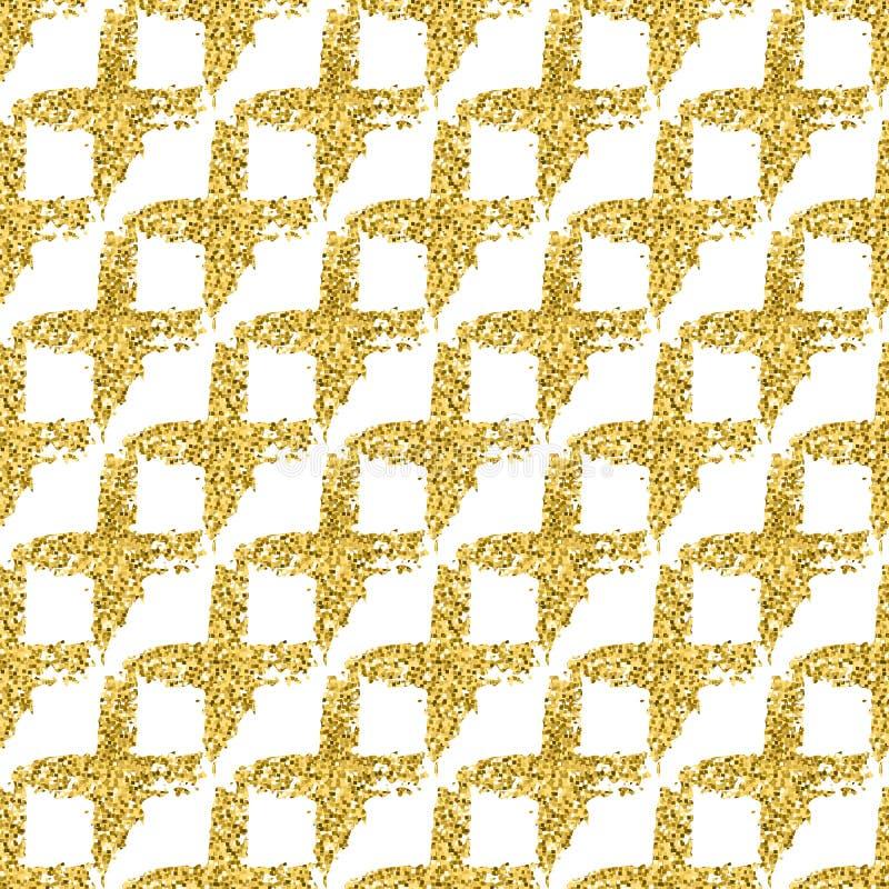 与刷子发光的发怒格子花呢披肩的现代无缝的样式 在白色背景的金子金属颜色 金黄闪烁纹理 免版税图库摄影