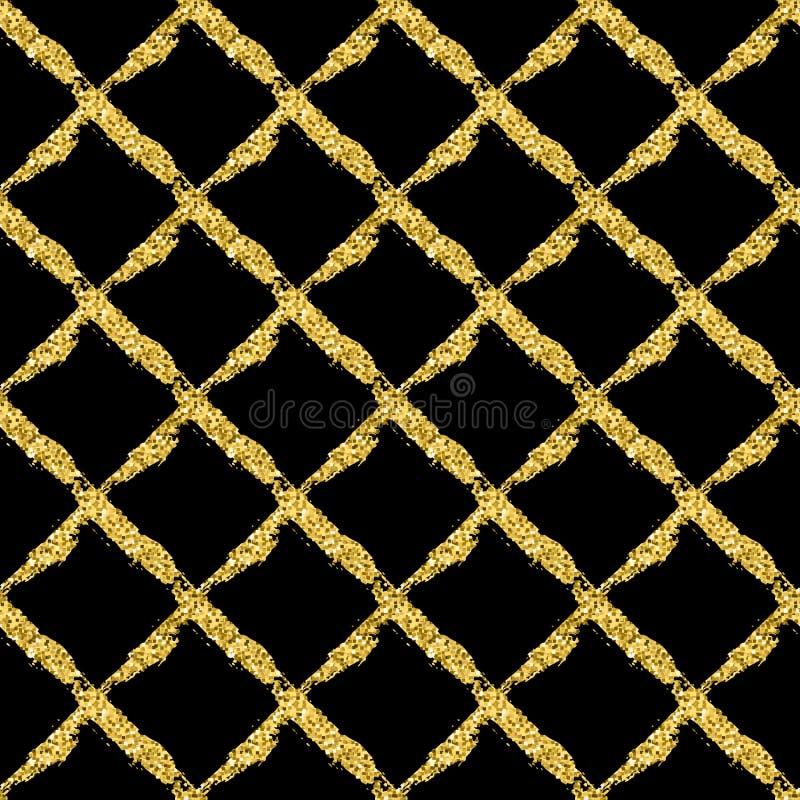 与刷子发光的发怒格子花呢披肩的现代无缝的样式 在黑背景的金子金属颜色 金黄闪烁纹理 库存例证