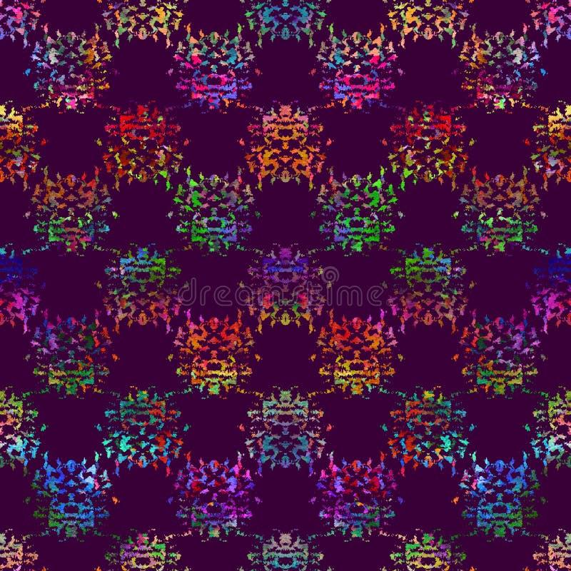 与刷子小点和斑点的无缝的样式 在紫罗兰色背景的彩虹颜色 手画农庄纹理 杂乱的墨水 库存例证