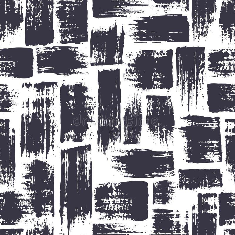 与刷子条纹和冲程的无缝的样式 在白色背景的蓝色颜色 手画农庄纹理 墨水 向量例证