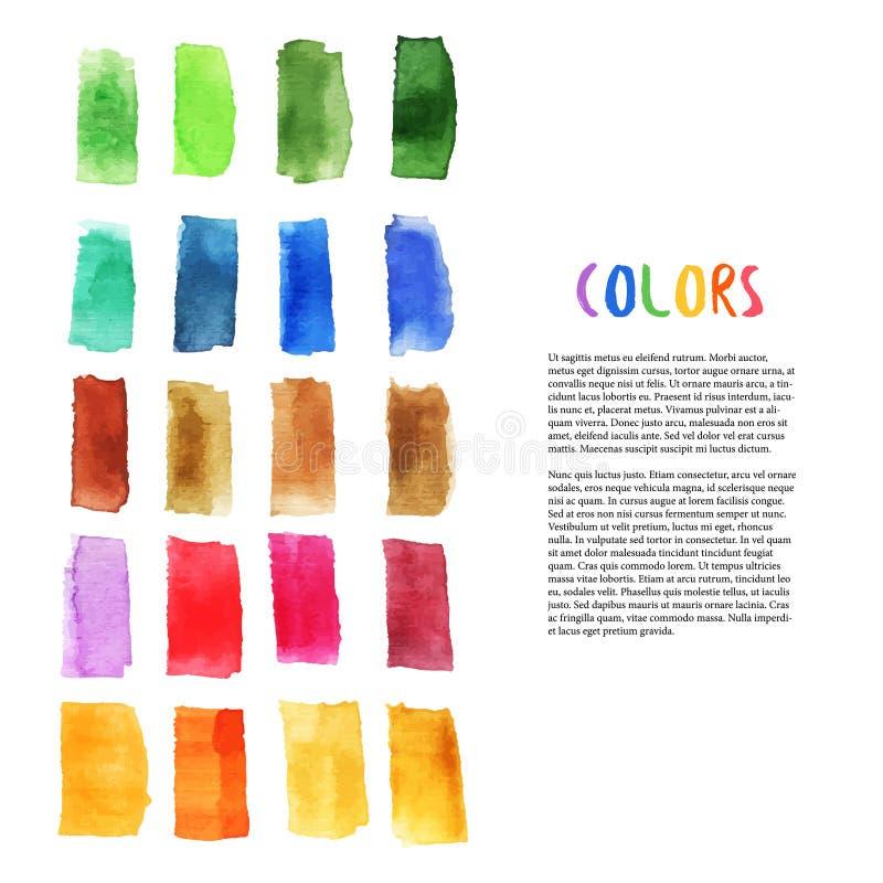 与刷子的五颜六色的水彩设计元素抚摸元素 调色板艺术 艺术演播室装饰 向量 皇族释放例证