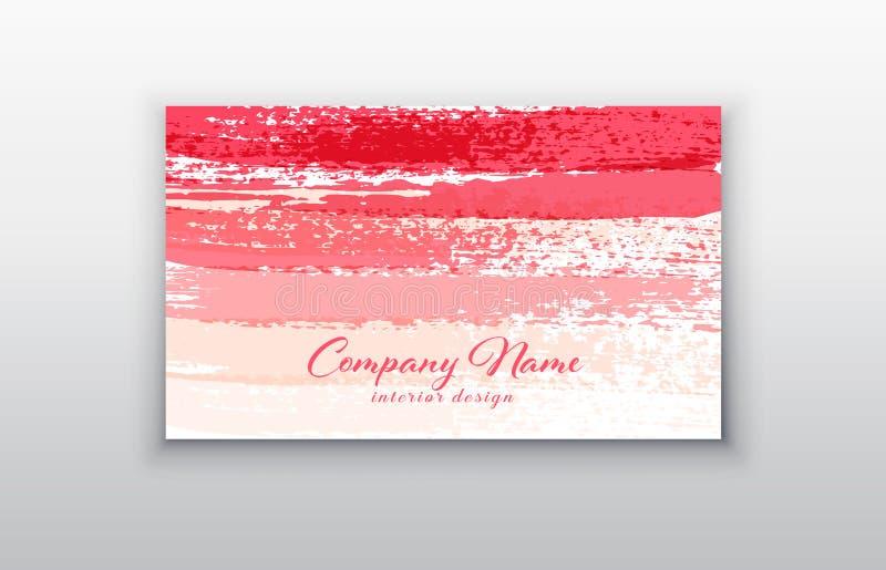 与刷子的桃红色传染媒介名片模板抚摸背景 库存例证