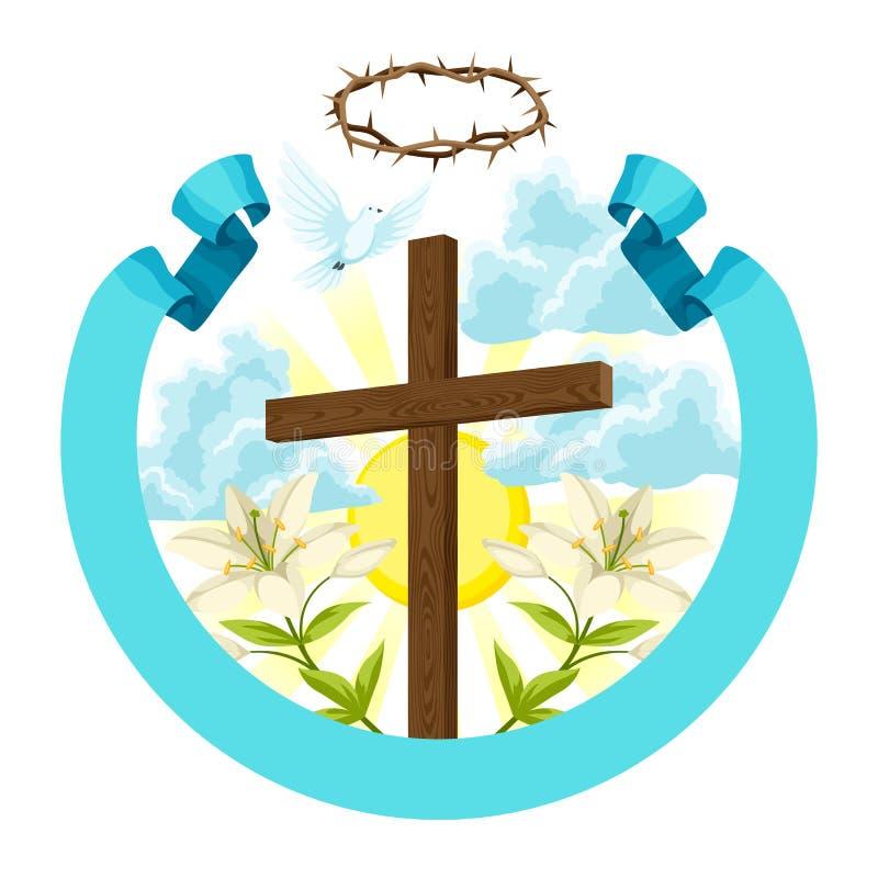 与刺、百合和鸠的木十字架 愉快的复活节概念例证或贺卡 信念的宗教标志 库存例证