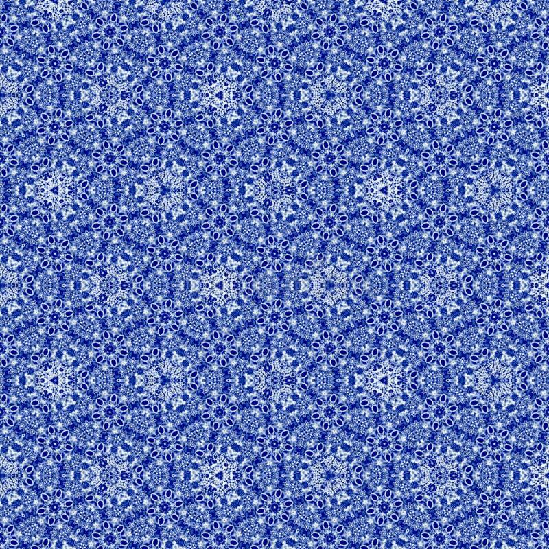与刺绣richelieu的作用的连续的样式在蓝色gzhel颜色的,非常纺织品的好的样式和织品 向量例证