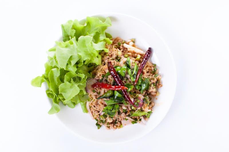 与剁碎和猪肉,泰国食物的泰国辣沙拉 免版税库存照片