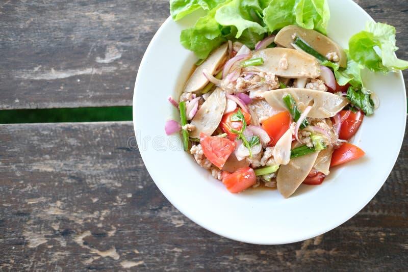 与剁碎的猪肉蕃茄菜的辣细面条沙拉混合 库存照片