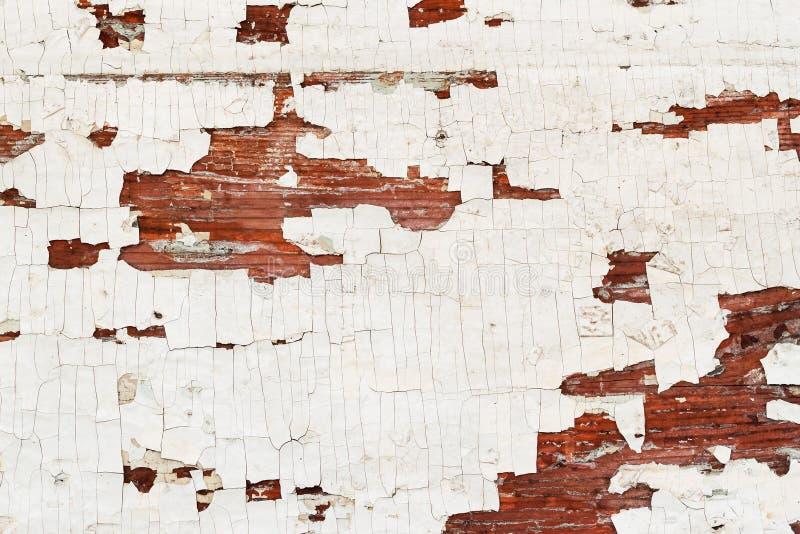 与削皮油漆木表面,老年迈的背景的纹理 您的文本的地方 免版税库存图片