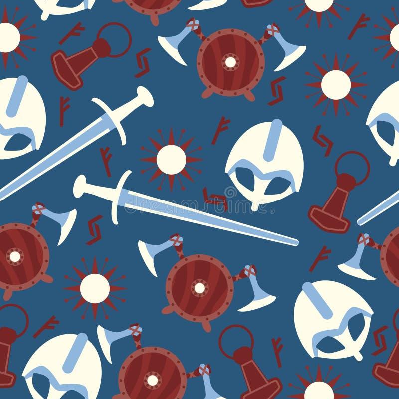 与剑、盔甲、盾、诗歌标志、太阳和轴的北欧海盗战士无缝的样式在蓝色背景 库存例证