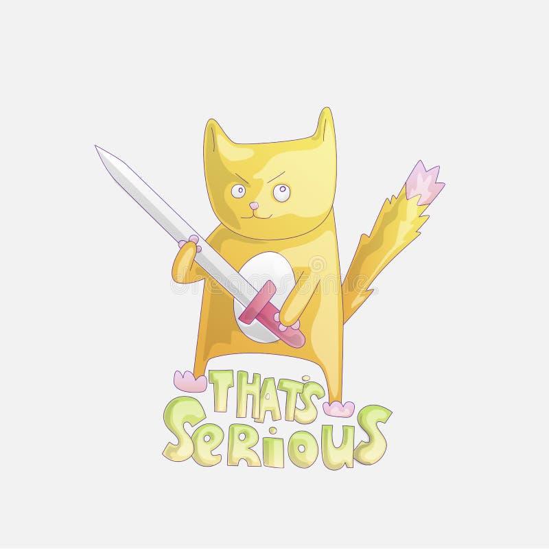 与剑例证的逗人喜爱的动画片猫 与是严肃的词组的滑稽的猫 危险滑稽的猫动画片 向量例证