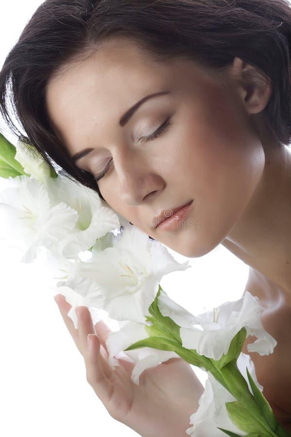 与剑兰花的美丽的新面孔 库存照片