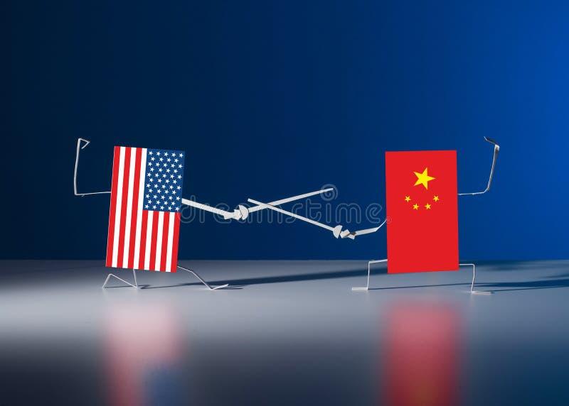 与剑的一场决斗在美国的纸旗子和中国之间 免版税库存照片