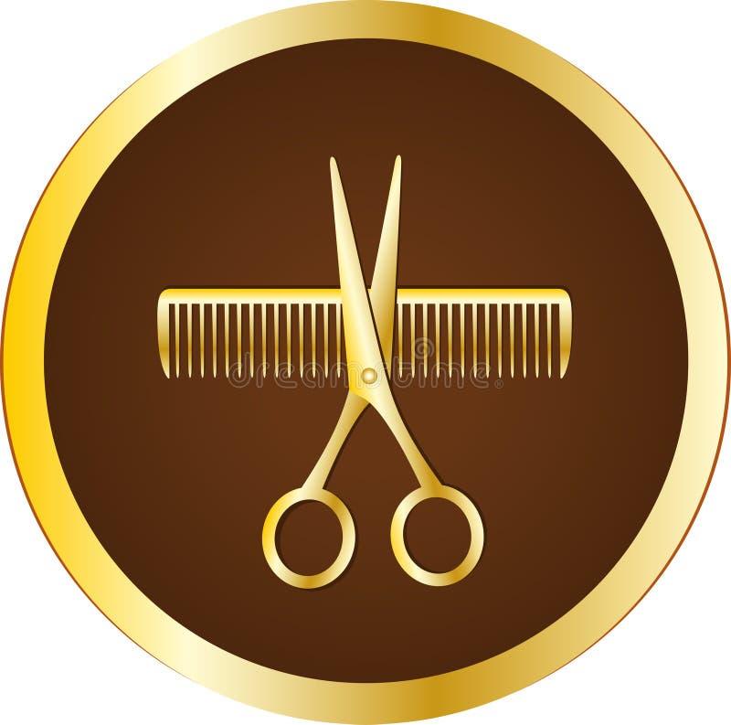 与剪刀和梳子的美发师符号 库存例证
