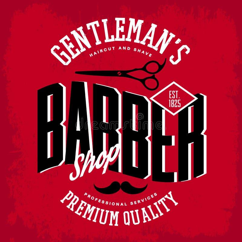 与剪刀和髭的理发店商标 库存例证
