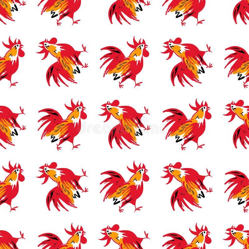 与剪影公鸡的无缝的样式 el的例证 皇族释放例证