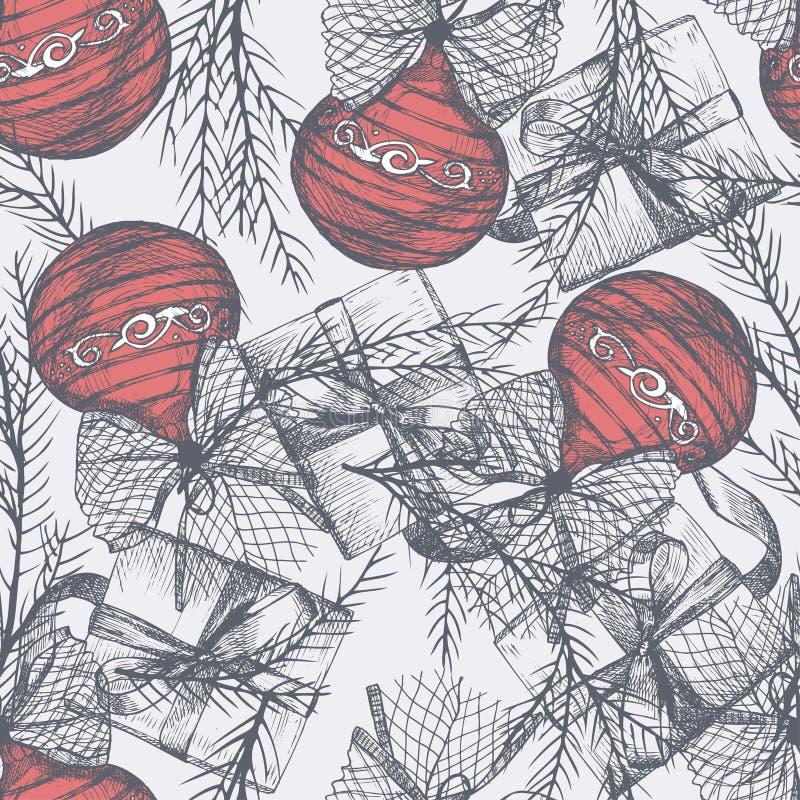 与剪影手拉的圣诞节球的无缝的样式 向量例证
