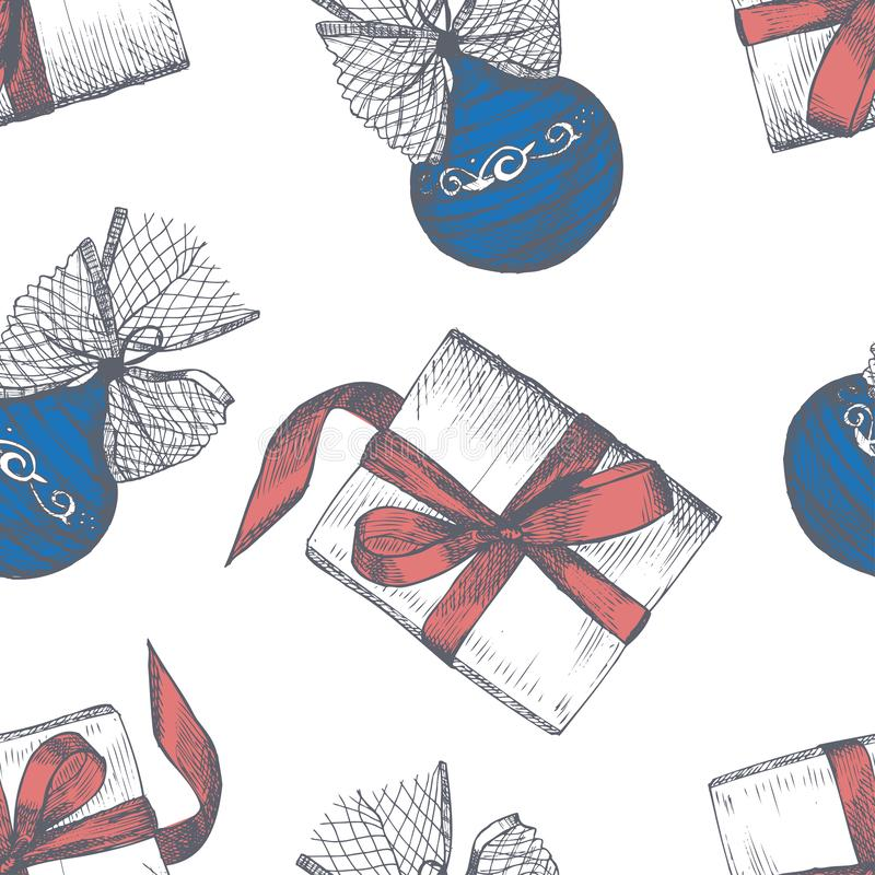 与剪影手拉的圣诞节球的无缝的样式 皇族释放例证