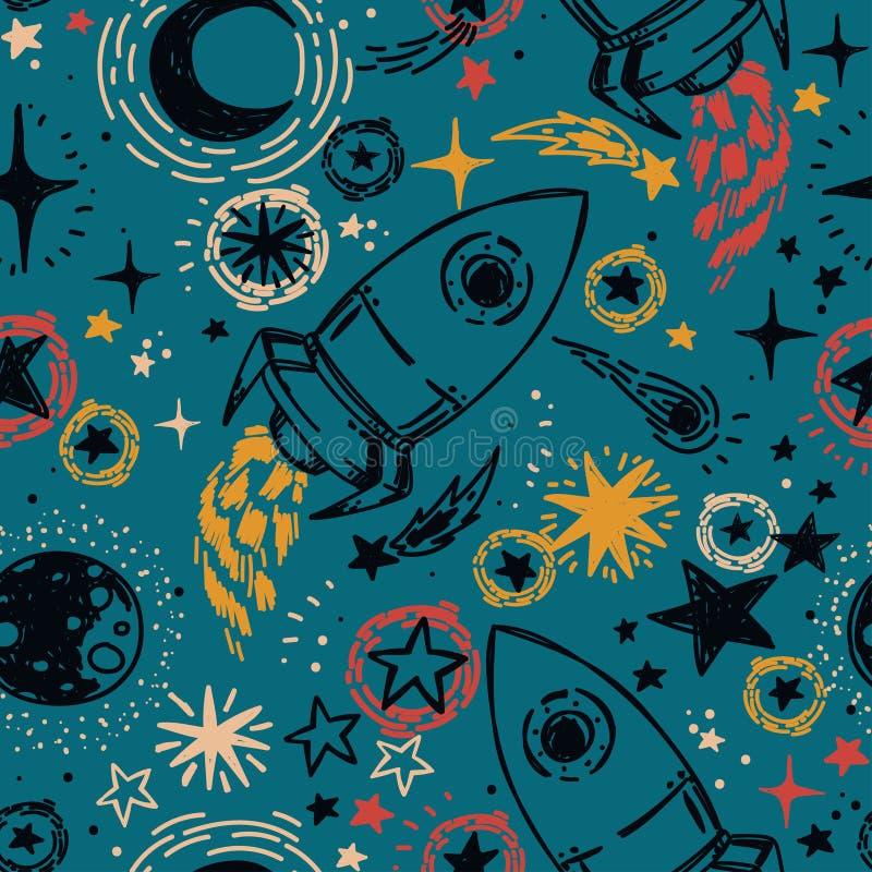 与剪影样式星、火箭、彗星和行星的无缝的样式 皇族释放例证