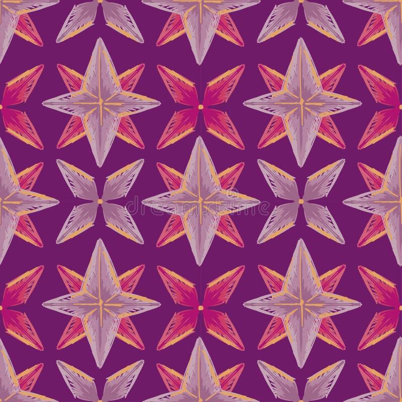 与剪影样式星的抽象无缝的背景 库存例证