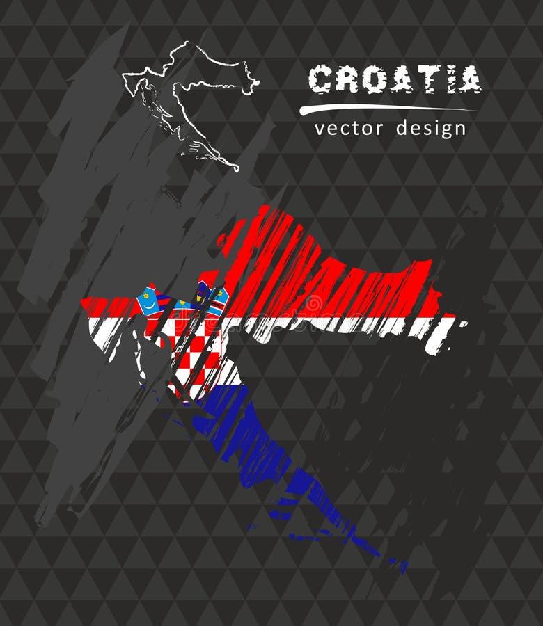 与剪影白垩旗子的克罗地亚全国传染媒介地图 剪影白垩手拉的例证 皇族释放例证