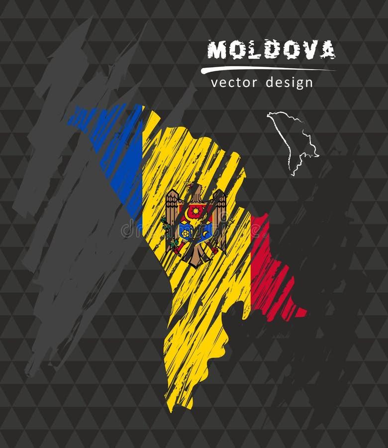 与剪影白垩旗子的摩尔多瓦全国传染媒介地图 剪影白垩手拉的例证 库存例证