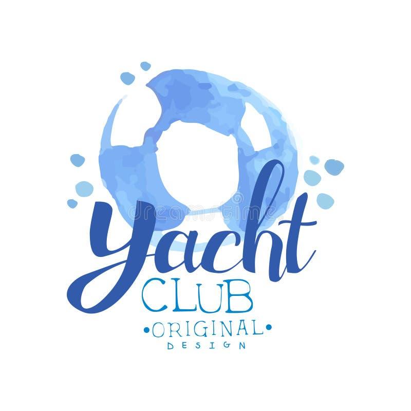 与剪影的水彩绘画lifebuoy 海旅途的概念 蓝色游艇俱乐部象征 海洋生活方式 手 库存例证
