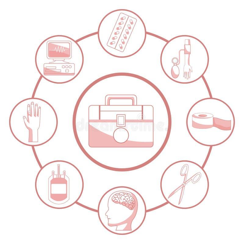 与剪影第一成套工具援助的红颜色部分的白色背景连接了到通报框架元素健康 向量例证