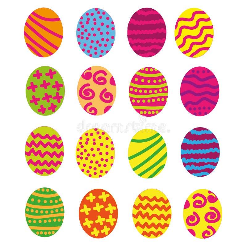 与剪影细节的复活节彩蛋被隔绝的集合装饰了明亮的背景 库存照片