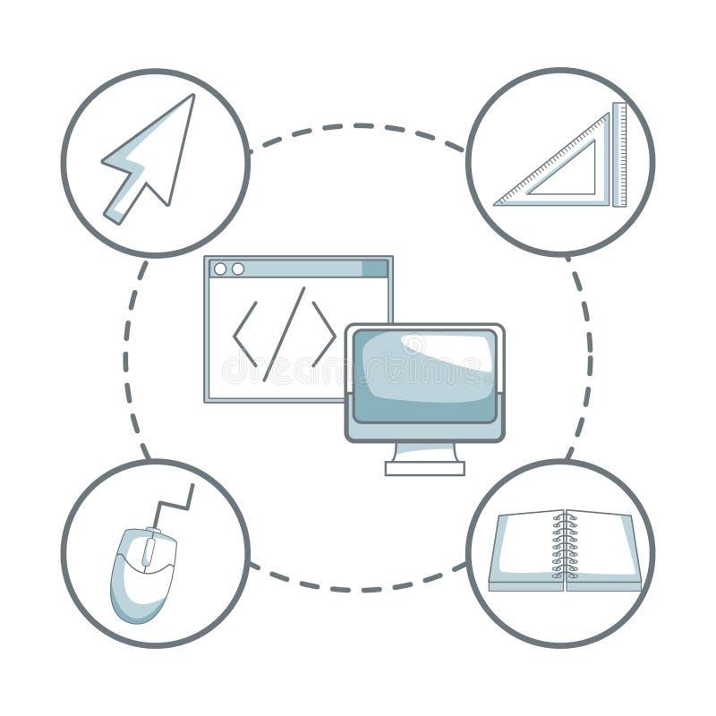 与剪影颜色的白色背景区分显示计算机和窗口阴影与象图形设计 向量例证