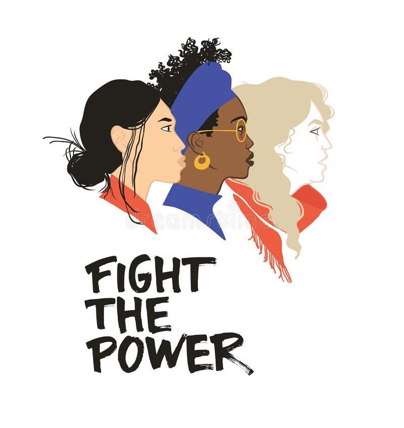 与力量战斗 更加严格一起 女孩团结 大家的平等权利 女权主义 向量例证