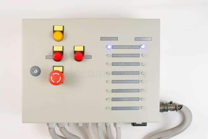 与力量按钮的高压控制板 库存图片
