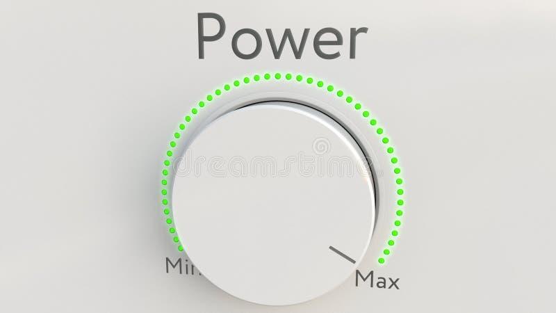 与力量题字的转动的白色高科技瘤从极小值到最大值 3d概念性翻译 库存例证