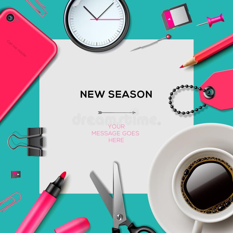 与办公用品的新的季节模板 库存例证