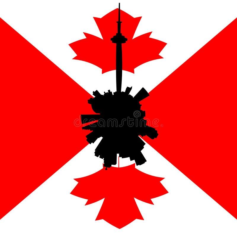 与加拿大旗子例证的多伦多圆地平线 皇族释放例证