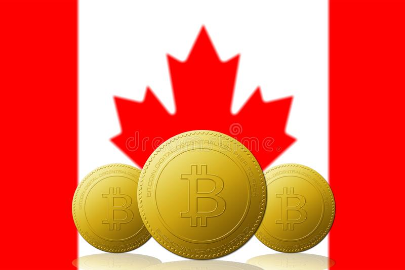 与加拿大旗子的三Bitcoin cryptocurrency在背景 库存例证