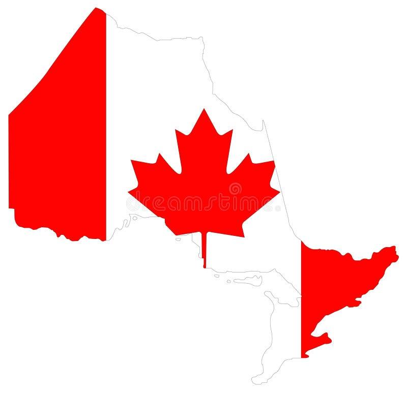与加拿大旗子-位于位于东部中心位置的加拿大的省的安大略地图 库存例证