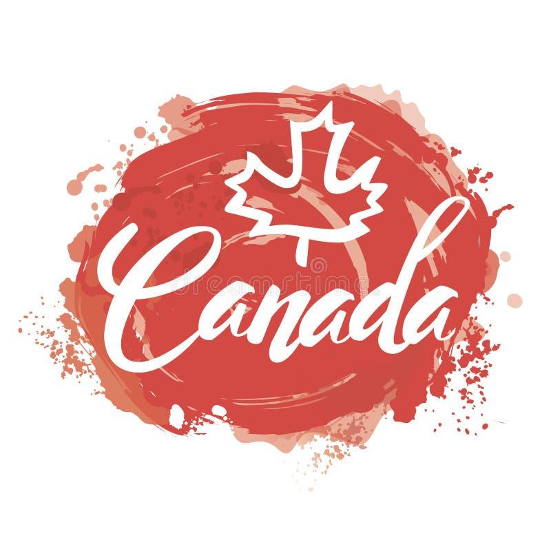 与加拿大的名字的邮票 向量例证