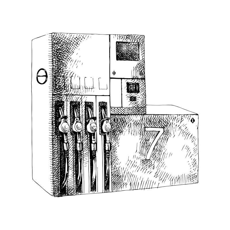 与加油泵的手拉的加油站 库存例证