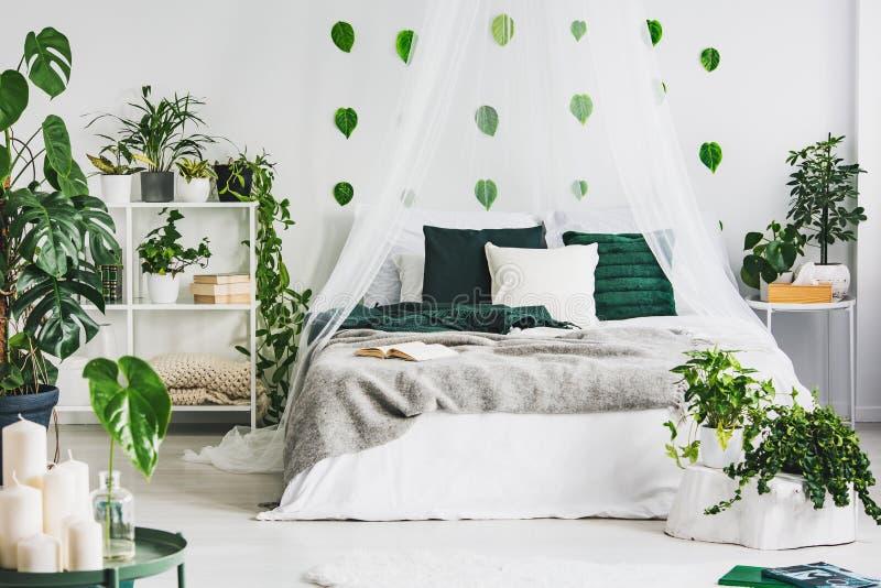与加长型的床、都市密林和绿色叶子的白色卧室内部在墙壁上 图库摄影